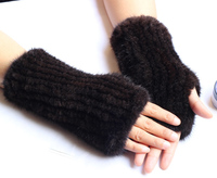 20cm Real knitted mink Fur Glovers half Winter For Touch Screens women natural fur hand protecter women's fashion long glovers