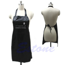 Black Adjustable Apron Bib Uniform With 2 Pockets Hairdresser Salon Hair Tool