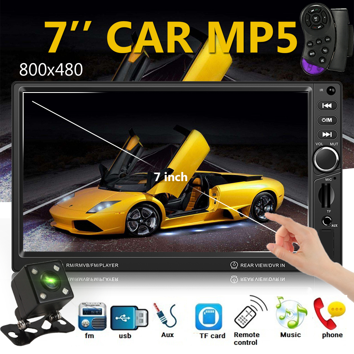 7 Inch Digital Screen 1080P 2 Din Car MP5 Player USB SD Bluetooth FM Radio Night Vision Reverse Monitor Rearview Camera Remote