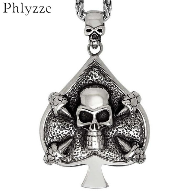 Stainless Steel Skull Spade Pendant Necklace 316L Stainless Steel