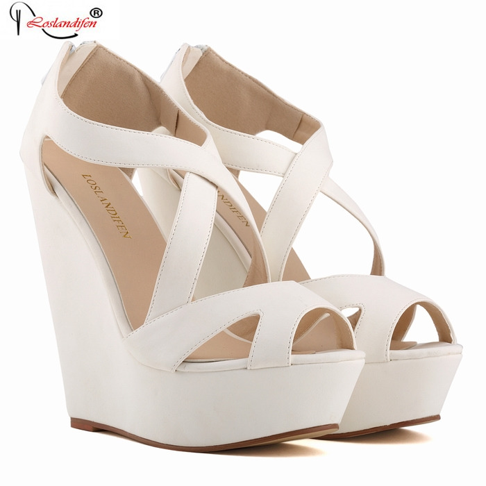 2017 Women Casual Wedges Sandals Shoes Summer Gladiator Platform Style Sandal Cross-Strap Peep Toe High Heel Shoes SMYBK-054 phyanic 2017 gladiator sandals gold silver shoes woman summer platform wedges glitters creepers casual women shoes phy3323