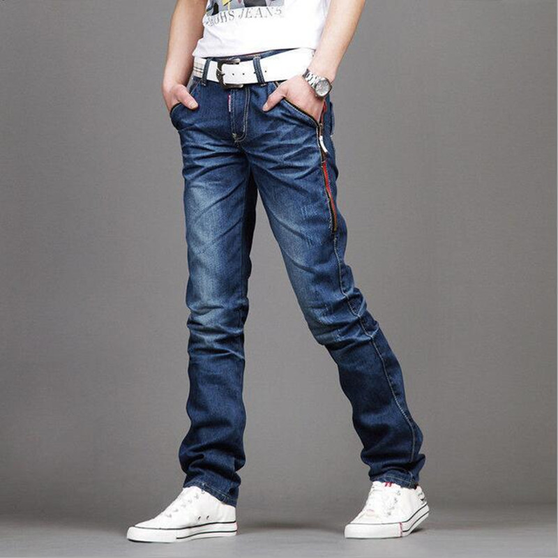 ФОТО 2016 men's fashion design slim jeans with high quality/Male han edition zipper design casual jeans/Men's joker thin leg pants