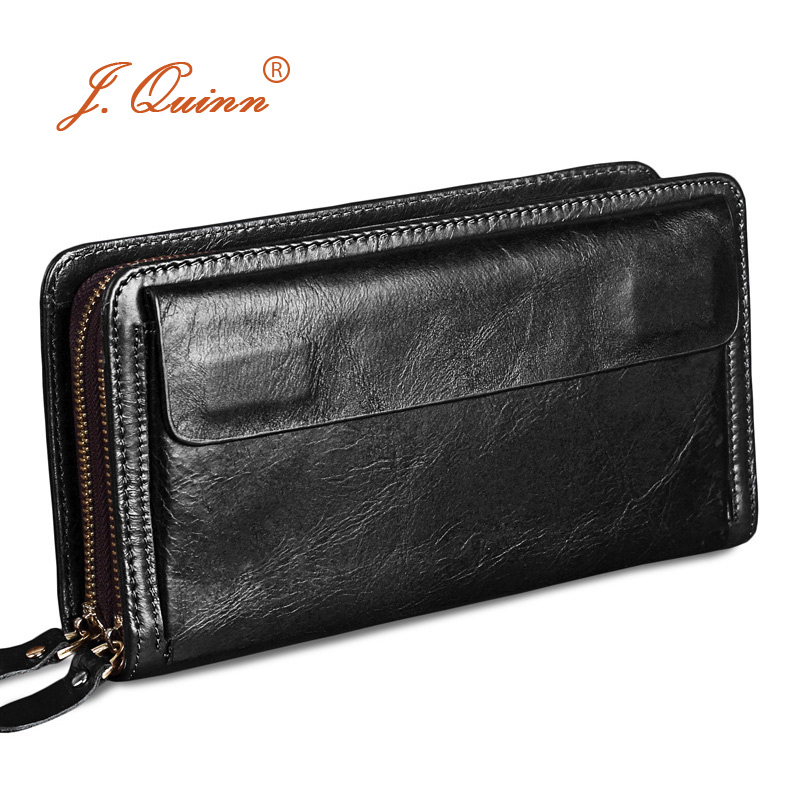 J Quinn Male Clutch Wallets Double Zipper Genuine Cowhide Leather Mens Purse Business Men Clutches Bag Luxury Hand Bags 2017 in Wallets from Luggage Bags