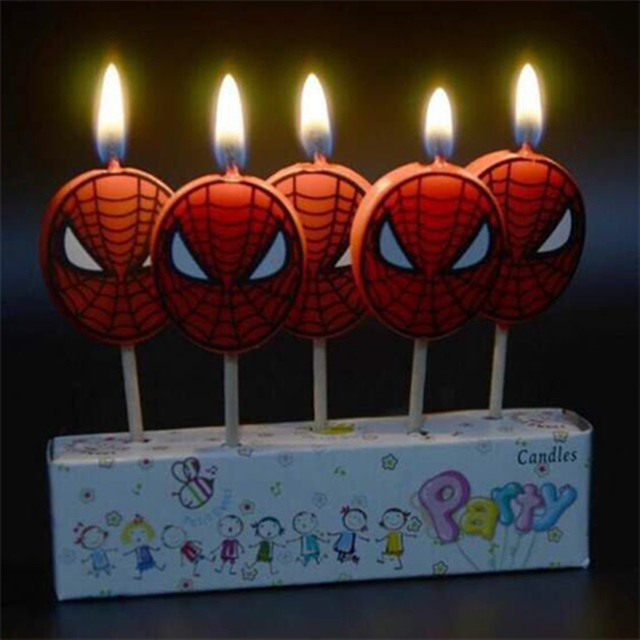 5pcs Hot Sales Spiderman Birthday Cake Candles Baby Shower Wedding Kids Superhero Party Ideas Decorating Supplies