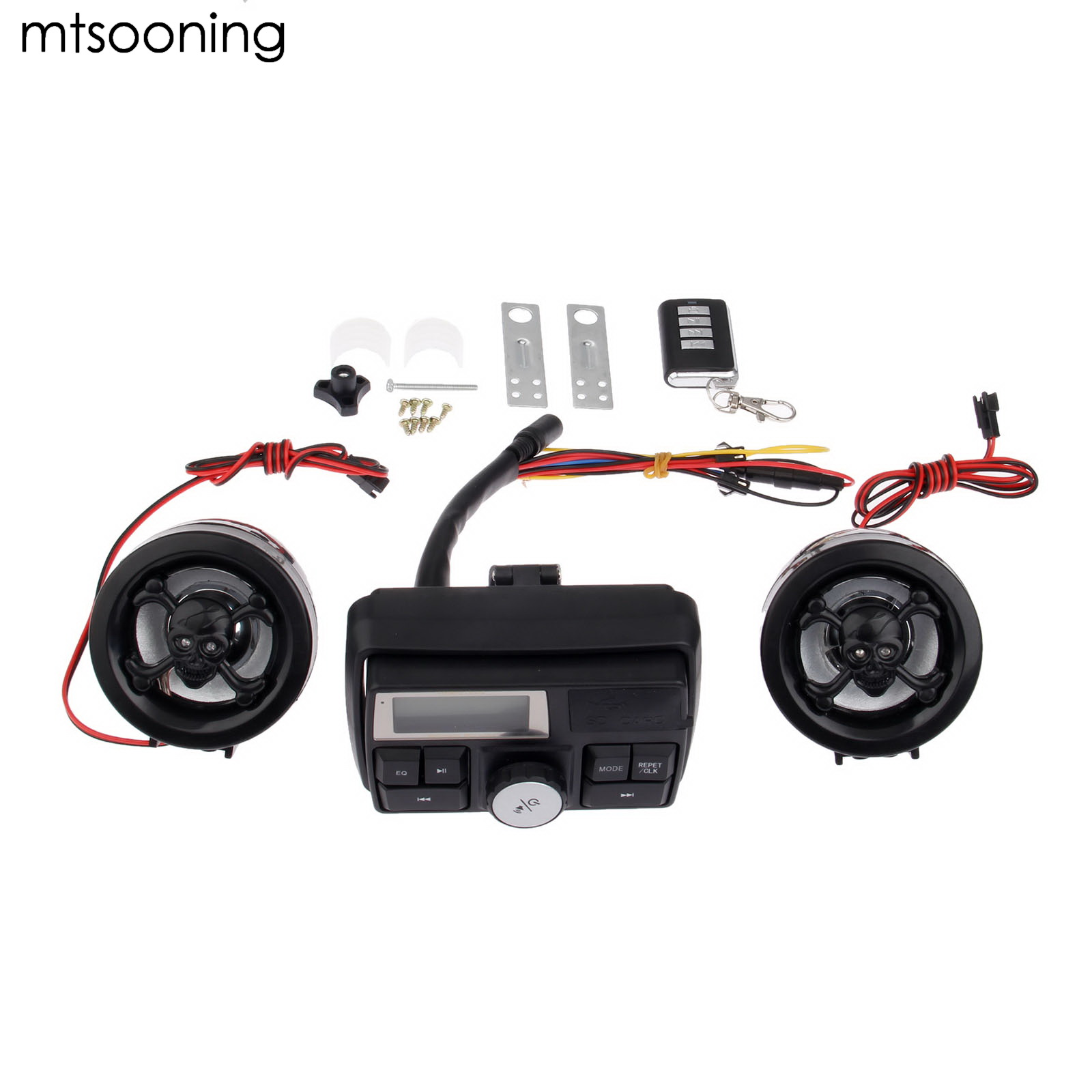 mtsooning Motorcycle MP3 player ATV Audio Music System Support USB 12V Motorbike FM Radio with speakers Motorcycle Music Player купить в Москве 2019