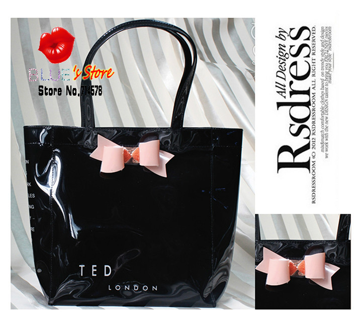 new pink butterfly ted women handbags black bow candy jelly bag bowtie rose pvc shopping bags S,M,L SIZE - Blue's Store store