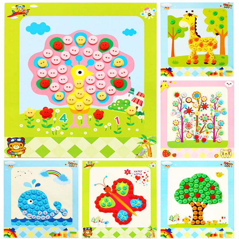 Children DIY Button Pictures Toy Educational Picture Handmade Buttons  Material Bag For Home Kindergarten Random Style