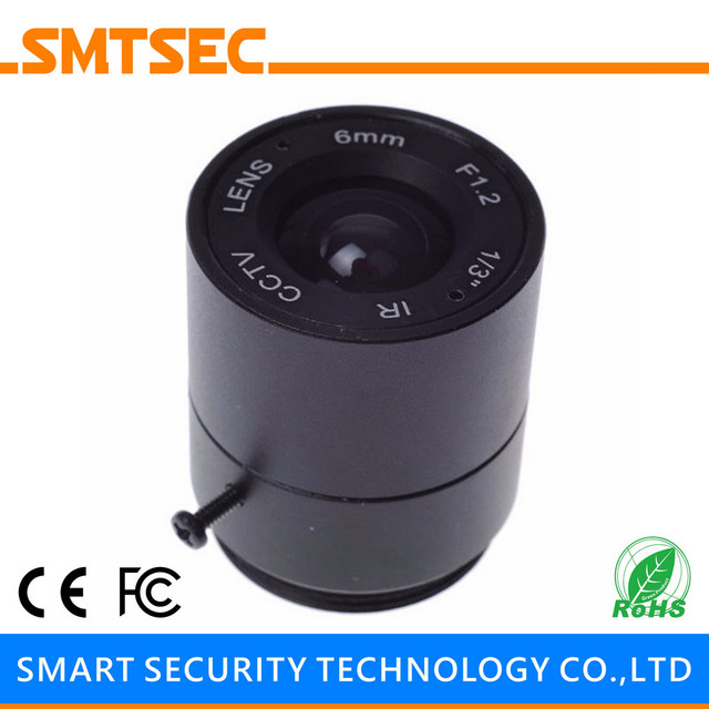 "SMTSEC SL-6012F 6.0mm F1.2 1/3"" CS Mount Fixed Iris Lens for CCTV Surveillance IP Camera"