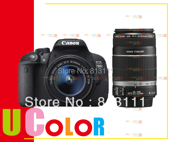 New Canon EOS Rebel T5i 700D DSLR Camera 18-55mm IS STM + EF-S 55-250mm f/4-5.6 IS STM Twin Lens Kit canon eos 700d kit ef s 18 135 is stm