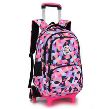 d099c1589 Seis ruedas extraíble niños escuela bolsas para niñas mochila Trolley niños  ruedas bolsa Bookbag viajes equipaje