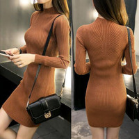 Sexy Turtlemeck Bodycon Women Sweater Dress 2016 Spring Autumn New Casual Long Sleeve Mini Dresses Solid