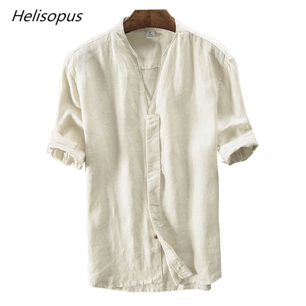 22b1277838 Helisopus 2019 Retro Pure Linen Shirt Men's Short Sleeves Casual Shirt  Summer Breathable Loose Type Casual