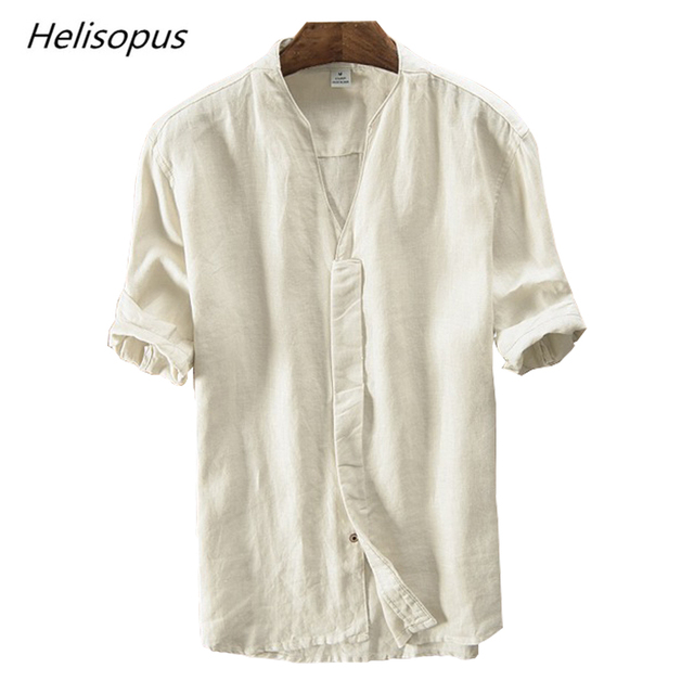 a986d8614a07 Helisopus 2019 Retro Pure Linen Shirt Men s Short Sleeves Casual Shirt  Summer Breathable Loose Type Casual
