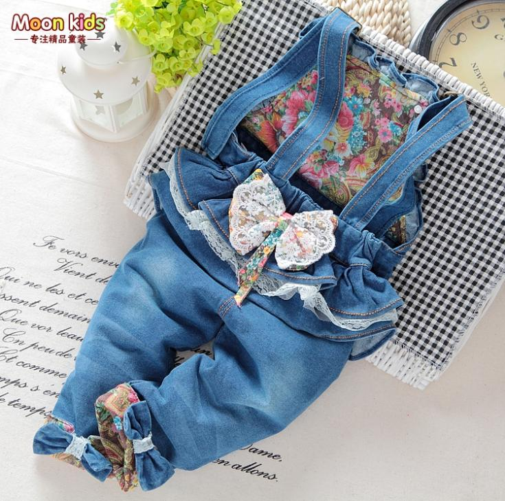 Free shipping spring and autumn Baby girls bow denim bib pants , infant jumpsuit ,kids