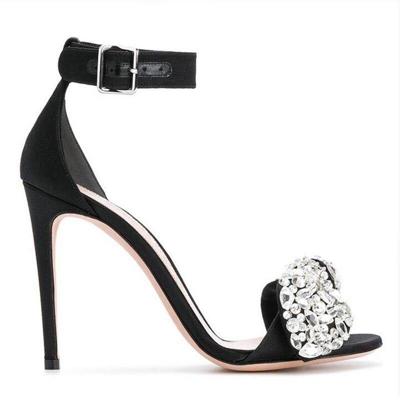 Luxury rhinestone bowtie woman sandals silk crystal ankle strap stiletto  heel sexy ladies party wedding sandals shoes ... 1b205ac4a4f1