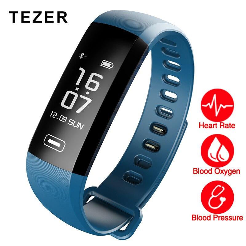 TEZER banda Original 50 cartas Mensaje a presión arterial monitor de Frecuencia Cardíaca de Fitness inteligente reloj de pulsera inteligente podómetro