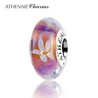 ATHENAIE Genuine Murano Glass 925 Silver Core Jasmine Flowers Charm Bead Fit All European Bracelets And