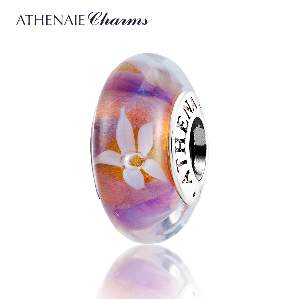 ATHENAIE Genuine Murano Glass 925 Silver Core Jasmine Flowers Charm Bead Fit Pandora Charms Bracelets and Necklace Color Purple