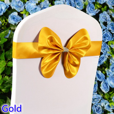 Colour gold wedding chair sash mini style butterfly bow tie lycra band stretch bow tie ribbon chair decration wholesale on sale