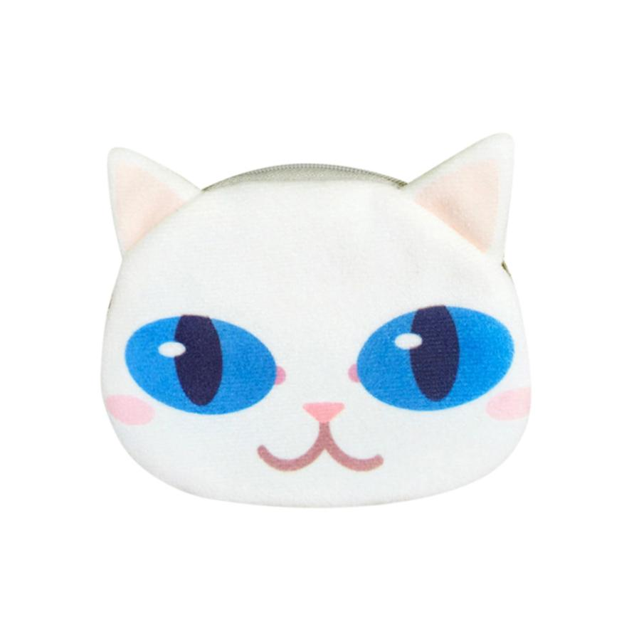 Excellent Woman Coin Purse Printing Lady PursePrint Cat Face Girl Plush Coin Purse Change Purse Bag Wallet Carteira 2018