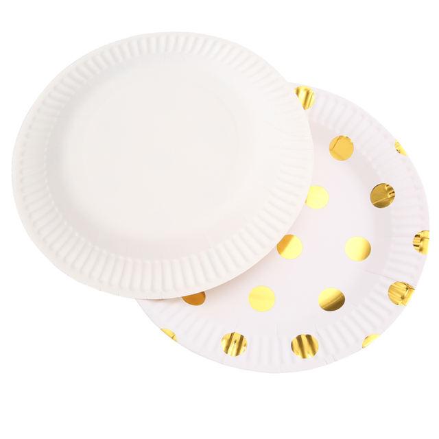 Gold Polka Dot Printed Table Set 10 Pcs
