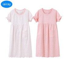 iairay 2pcs kids casual loose pajamas children summer home sleeping dress polka dot cotton nightdress girls nightgown sleeepwear