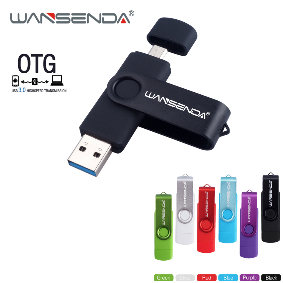 WANSENDA OTG USB Flash Drive High Speed Usb 3.0 Pen Drive 8GB 16GB 32GB 64GB cle usb 3.0 Flash Drive Pendrive Micro USB Stick creative slr camera style usb 2 0 flash drive black 32gb