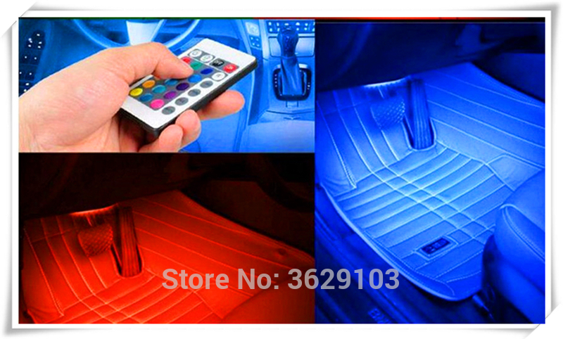 One trailer four car LED remote control colorful atmosphere lights for Cadillac srx cts ats escalade sts dts bls