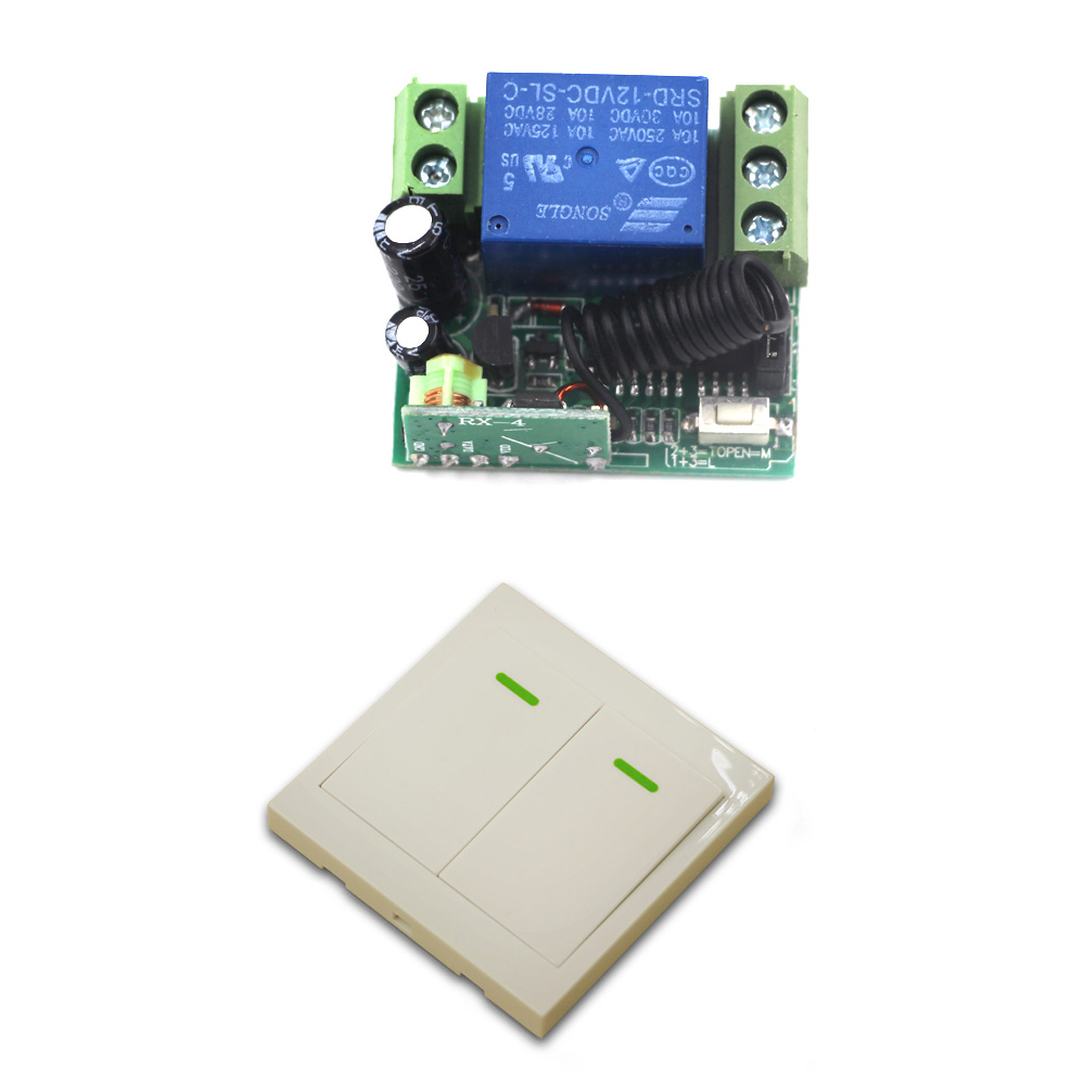 Hot Sale DC 12V Mini 1CH Wireless Remote Control Switch System Receiver with Case and Wall Transmitter 315/433mhz wireless pager system 433 92mhz wireless restaurant table buzzer with monitor and watch receiver 3 display 42 call button