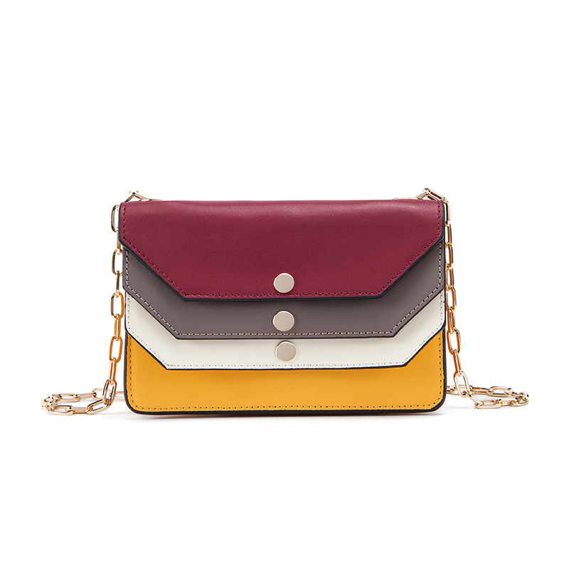 2018 Genuine Leather Chain Flap Messenger Bags women's handbag Fashion  Panelled Style Casual Shoulder bag Small Crossbody Bags twenty four genuine leather female shoulder bags fashion style chain bags with rivets for young girl small lovely handy flap bag