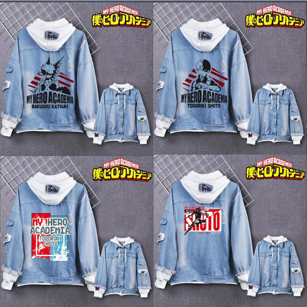 My Hero Academia costumes Men women Hoodies Jackets cartoon casual Jean jacket Ripped denim top in fashionable print Hoodies