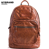 MYBRANDORIGINAL vintage genuine leather women backpacks cow leather men multi function backpack large capacity laptop bag B131