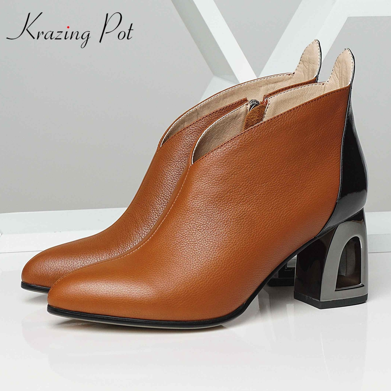 krazing pot hot sale big size genuine leather women winter shoes fretwork high heels zipper keep warm elegant ankle boots L48 2018 new arrival genuine leather zipper runway autumn winter boots round toe high heels keep warm elegant women ankle boots l29