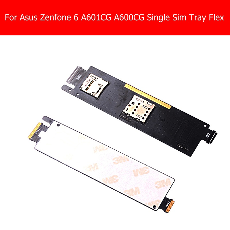 Original Single Sim card reader flex cable For <font><b>Asus</b></font> zenfone 6 A600cg A601CG <font><b>T00G</b></font> Z002 holder contactor flex cable tray module image