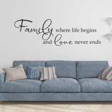 Family Where Life Begins And Love Never Ends Art Design Vinyl Wall Sticker Quotes Creative Character Home Decor Decals