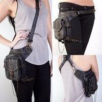 Jungle Christmas Gift Rock gothic bag Tribe cyber punk thigh bags women leather waist pack motor leg rider bag cyberpunk style