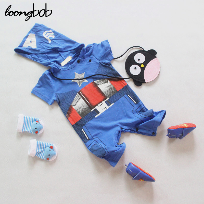 New baby rompers bebes boys iron man captain America modelling romper toddler costume roupa infantil 853A