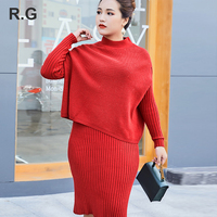 RG Casual Women Dress Crop Top 2 Piece Set Plus Size 3XL Women Knitted Suits Clothing Sets Spring Autumn 2018