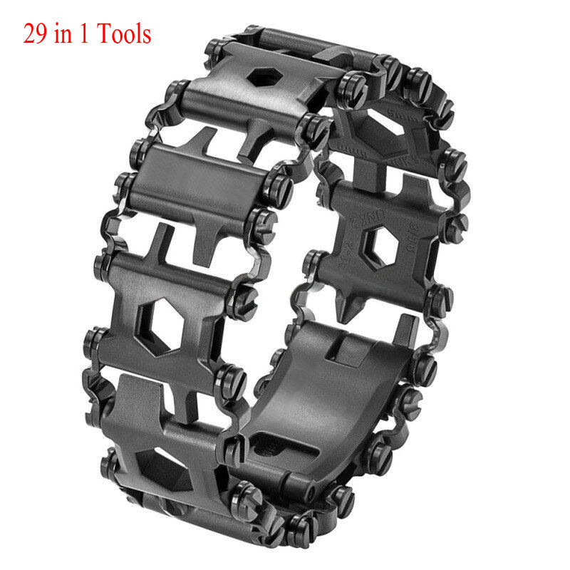 Mens Women Tools Bracelets 29 in 1 Multi-functions Stainless steel Tread Wearable Screwdriver Camping Survival Bracelet Outdoor 29 in 1 portable outdoor survival edc tool bracelet multi functional wearable tread stainless steel punk link bracelets strap