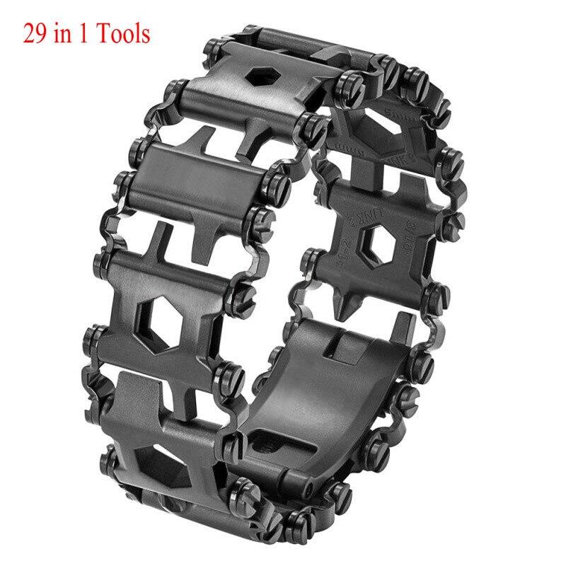 Mens Women Tools Bracelets 29 in 1 Multi-functions Stainless steel Tread Wearable Screwdriver Camping Survival Bracelet Outdoor