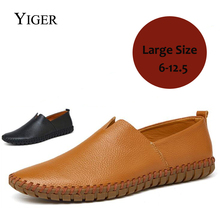YIGER New 2018 Summer Man Boat shoes Cow Leather Casual Men Shoes Leisure Loafers Breathable Black/Brown Free Shipping  0121