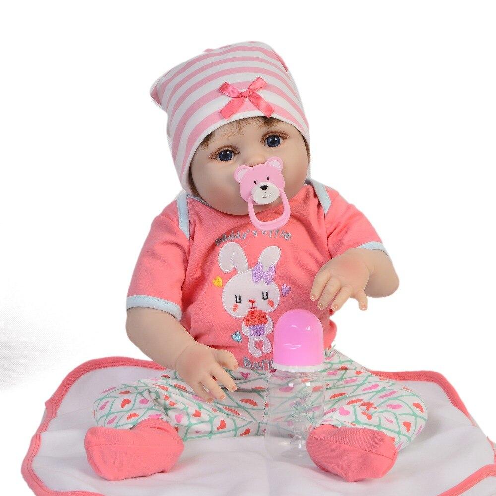 Lifelike 23'' Reborn Baby Girl Lovely 57 cm Full Silicone Reborn Dolls Babies Vinyl Washable Bebe Toys For Kids Birthday Gifts-in Dolls from Toys & Hobbies    3