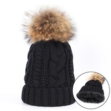 цена на Outdoor Cotton Fluffy Pompom Ball Fall Winter wool Hat knitted Women's Cap Knitted Wool Skullies Beanie Female Thick warm hat