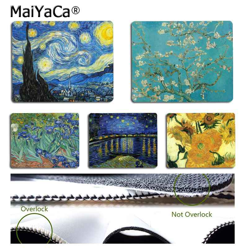 MaiYaCa  Vincent van Gogh. The Starry Night Flower aesthetic Art Computer Gaming Mouse mats gaming Mousepad For PC Laptop