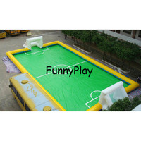 Inflatable Soap Football Field, 10*8m Cheap Price Manufacture Inflatable Football Field Soccer Ball Pitch for Sports Game