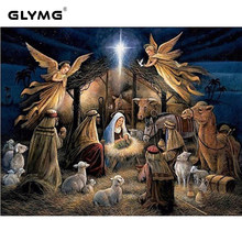 glymg diy diamond embroidery angel jesus christian diamond painting cross stitch full square christmas decorations for home