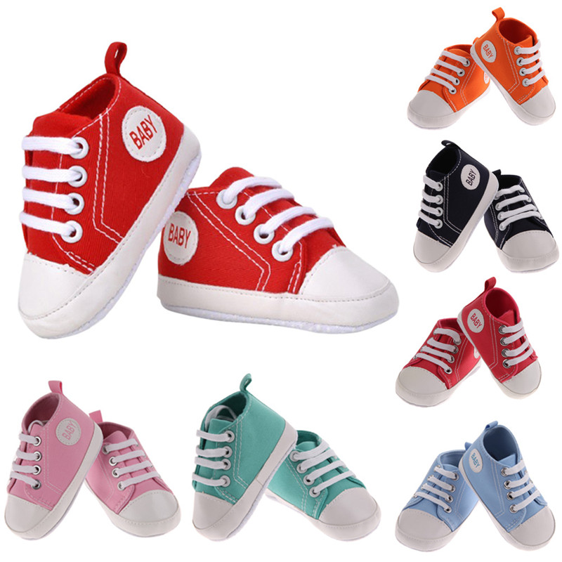 First Walkers Newborn Baby Shoes Canvas Classic Sports Sneakers Boys Girls First Walkers Shoes Summer Infant Toddler Soft Sole Anti-slip Baby For Fast Shipping