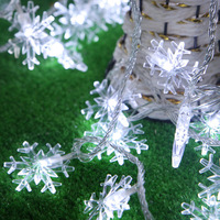 Christmas White Led Snowflake String Light 10 Meter With 80 Leds Portable Party Light AA Battery