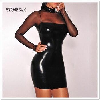 160094d05 Vestido Corto 2018 Mini Cuero Negro Mujeres De Sexy Pu lJK3F1Tc