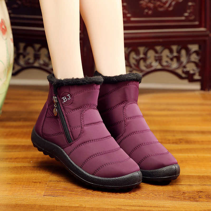 Plus Size 2018 New Winter Women Boots Warm Fur Snow Boots Shoes Woman Tube  Thick Plush 1dbf317af29